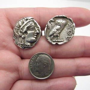 Other - Vintage 925 Sterling Greek Athena's Owl Cuff Links